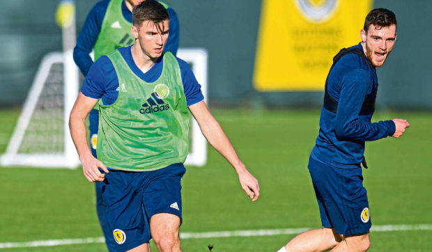 Kieran Tierney and Andy Robertson during a Scotland training session