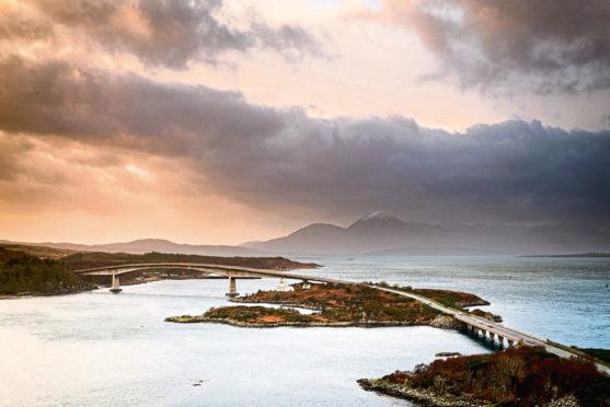 Bridge Crossing Loch Alsh On The West Coast Of Scotland.