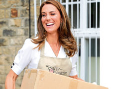The Duchess of Cambridge helps unloading a pallet of supplies during a visit to Baby Basic UK & Baby Basics Sheffield.