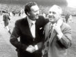 (L-R) Celtic manager Jock Stein renews his acquaintance with Liverpool manager Bill Shankly before the match.