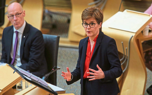 First Minister Nicola Sturgeon during First Ministers Questions at the Scottish Parliament.