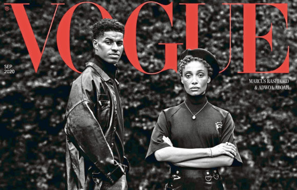 Footballer Marcus Rashford and model and mental health activist Adwoa Aboah on cover of fashion bible Vogue