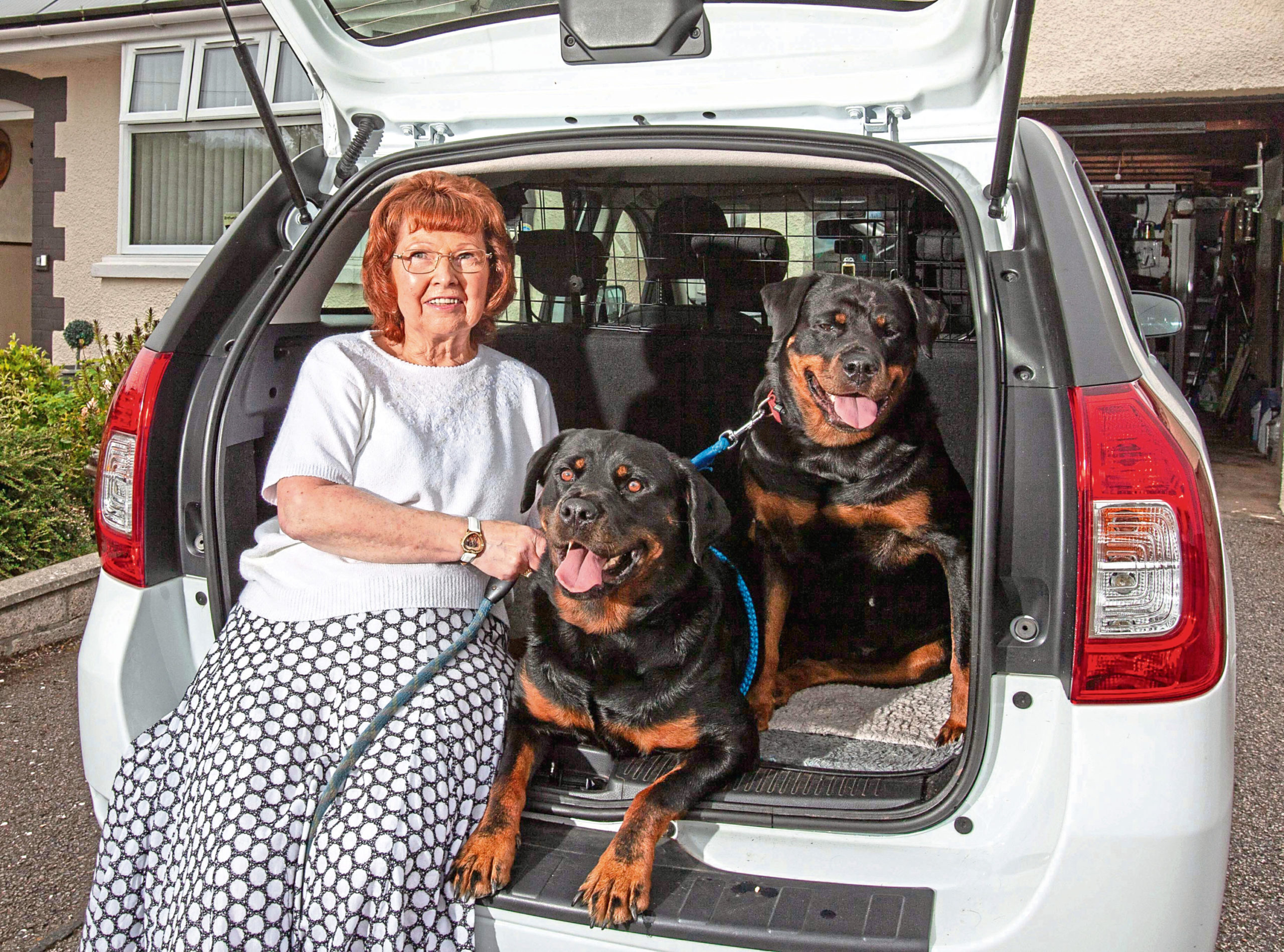Dacia owner Eileen McDonald with Rottweilers Marsha and Carrie