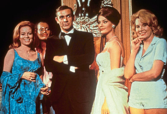 Luciana Paluzzi, far left, with Sir Sean in Thunderball
