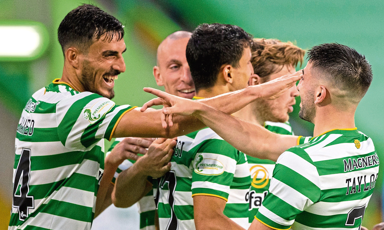 Hatem Elhamed (far left) was happy to be back involved against KR Reykjavik in midweek