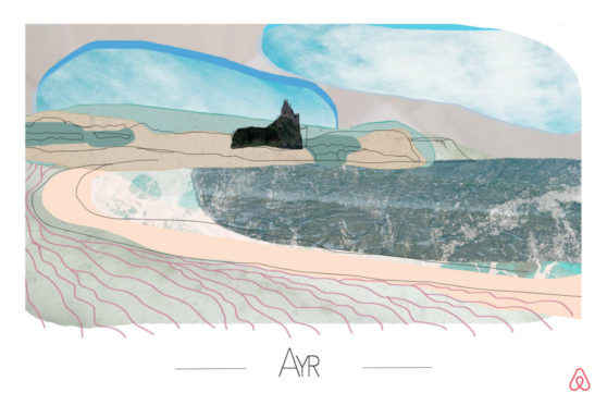 Artist Beca Fflur has created a postcard illustrating the delights of Ayr, Scotland, which is among the top trending UK seaside destinations on Airbnb this summer. To celebrate the resurgence of the seaside holiday, Airbnb has commissioned two British artists to design a series of bespoke, traditional-style postcards for the top ten holiday hotspots.