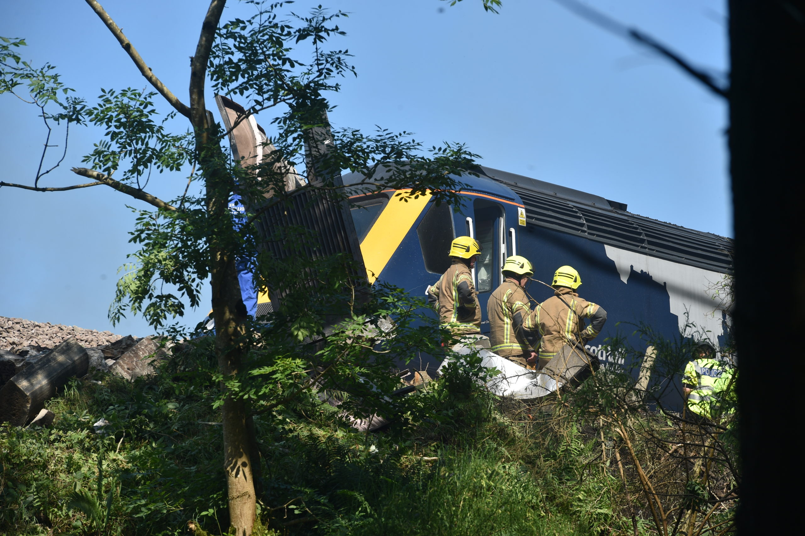 Fire crews at the scene of the incident yesterday.