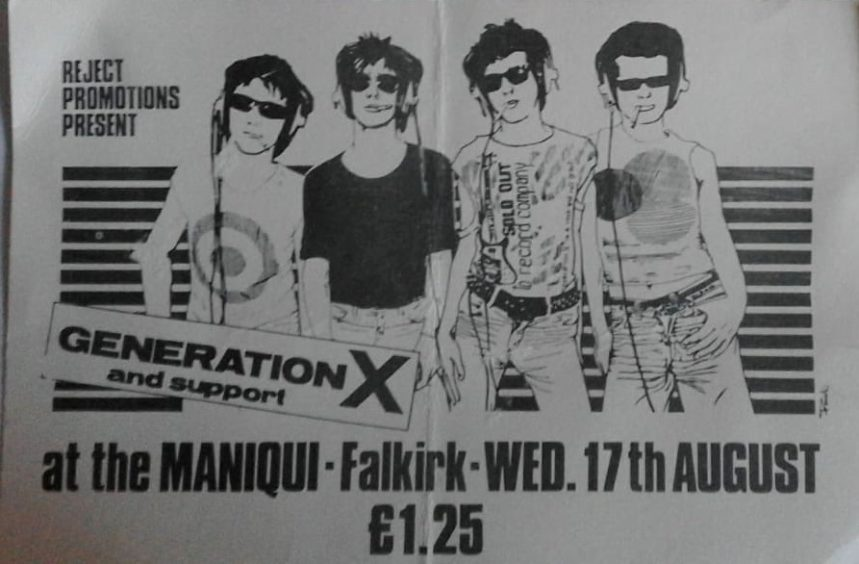 The Maniqui club (still going) in Falkirk hosted punk bands including Stranglers, Elvis Costello and Generation X. They often had local support from bands like The Jolt and Johnny and the Self Abusers (who became Simple Minds)