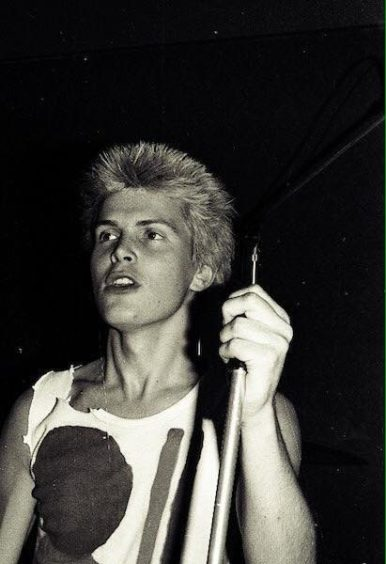 Paisley became 'punk central' after Glasgow banned punk gigs in the wake of a riot at Stranglers concert at City Halls in 1977. Silver Thread Hotel still stands. This is Billy Idol, in younger days of 1977. c. Peter McArthur
