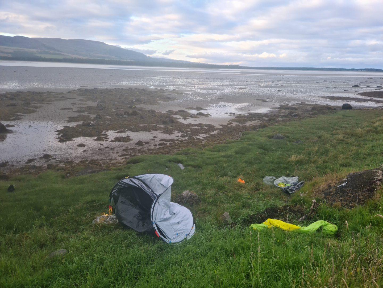 Rubbish left by tourists at Loch Fleet.