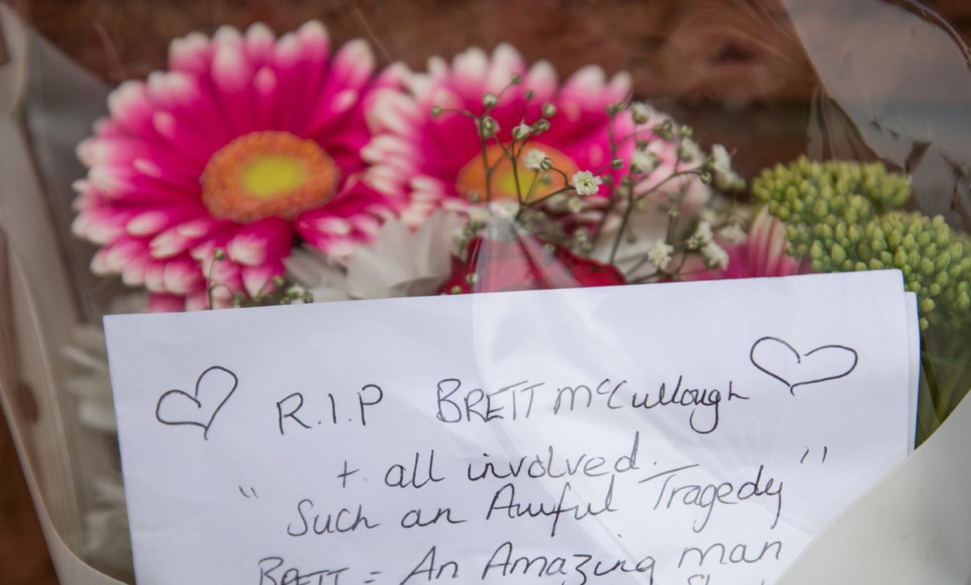 Floral tributes left at Stonehaven Station
