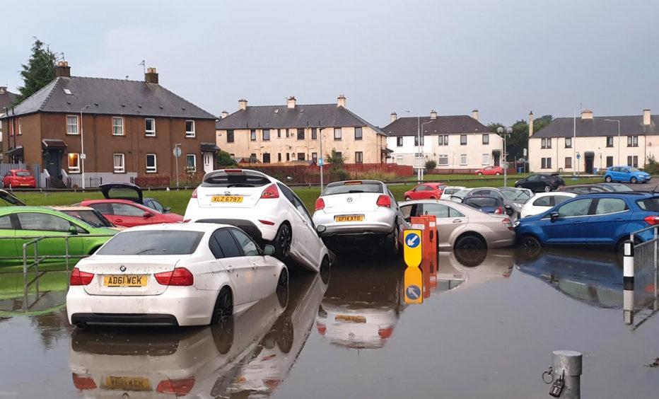 Flooding at Victoria Hospital car park in Kirkcaldy, Fife