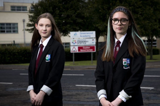 Nicole Tait and Ellie Little, who attend Greenwood Academy in Dreghorn North Ayrshire