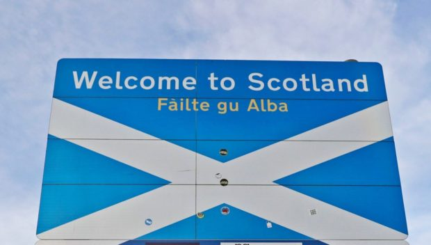 A sign on the Scottish border
