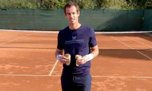 VIDEO: Andy Murray shows off his ball skills as he helps donate 20,000 meal kits to families in need