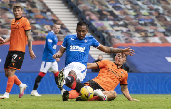Alfredo Morelos came on as a substitute against Dundee United yesterday before being carried off injured