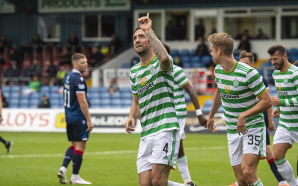 Celtic's Shane Duffy celebrates a debut goal