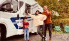 Jayne with son Gabriel and partner Gav ready to hit the road at Edinburgh Caravan and Motorhome club