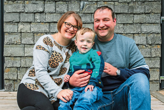 Fiona and Paul Sneddon ,with their son, Jack (3), who needs a heart transplant.