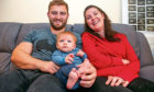 Lucy Lintott, Scotland's youngest MND sufferer and first to give birth post diagnosis celebrates the six-month landmark with her baby LJ and fiancé Tommy