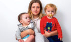 Leigha Collins with her two children, Hayes and Alfie,