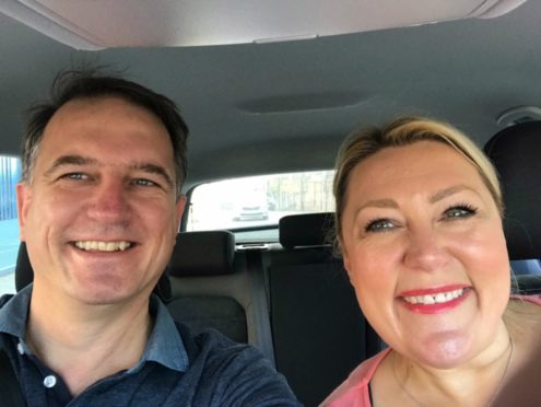 Jayne Moorby and husband Keith on their roadtrip to Scotland. Jayne made a playlist of Scottish music which has almost gone viral.