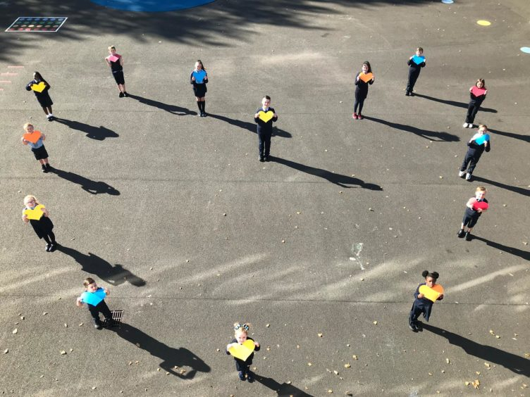 St Ninian's Primary School shared their socially-distanced heart