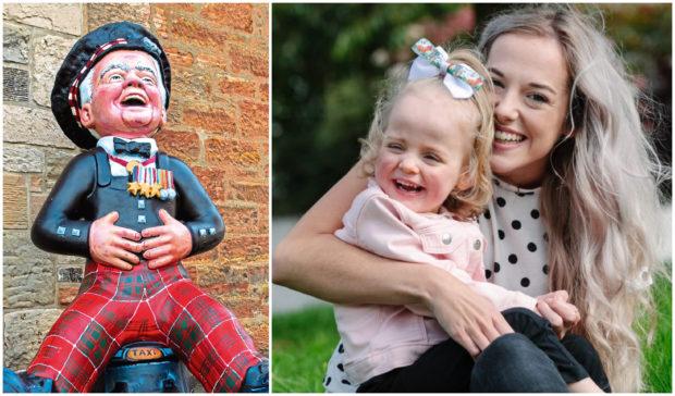 Little Clara Healy took her first steps on the trail, right, while fundraiser Tom Gilzean was honoured with a statue