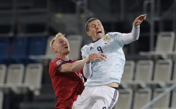 Lyndon Dykes in action against the Czech Republic last Monday night