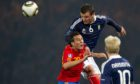 Lee McCulloch on his last Scotland appearance against Spain in October, 2010