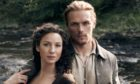 Sam Heughan and co-star Caitriona Balfe as Jamie and Claire Fraser in the hit series