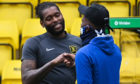 Livingston's Jay Emmanuel-Thomas (L) and Kilmarnock's Aaron Tshibola