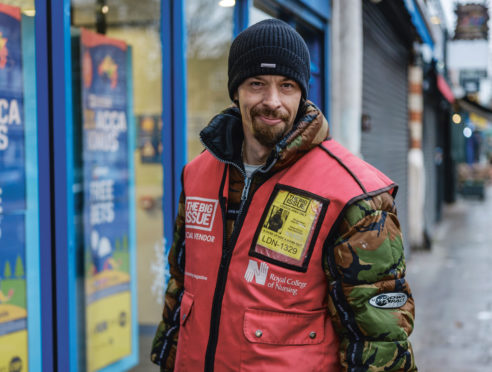 Martin McKenzie, 39, from London, who is part of a digital campaign to show the work of The Big Issue frontline team in a bid to boost sales and to mark World Homeless Day .