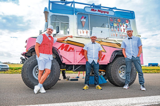 Paddy McGuinness, Chris Harris and Freddie Flintoff have got it licked in the latest series of Top Gear, burning rubber in a monster-sized ice cream van