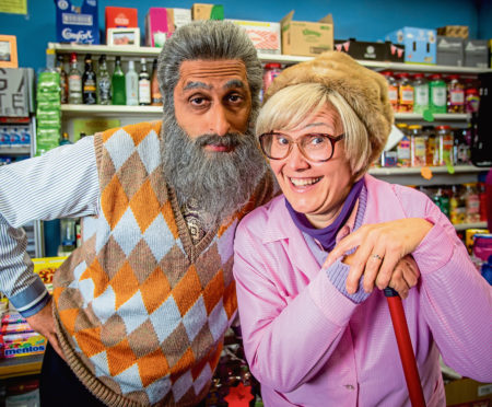 Navid played by Sanjeev Kohli and Isa played by Jane McCarry in Still Game.