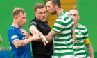 Referee John Beaton has to separate Scott Arfield and Shane Duffy as tempers flare during yesterday's derby.
