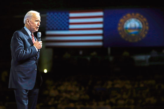 Joe Biden on the stump  in New Hampshire, in February, when many had written off his chances