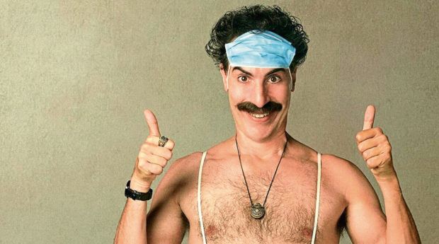 Sacha Baron Cohen as his hapless Kazakh alter ego in cringey sequel Borat 2