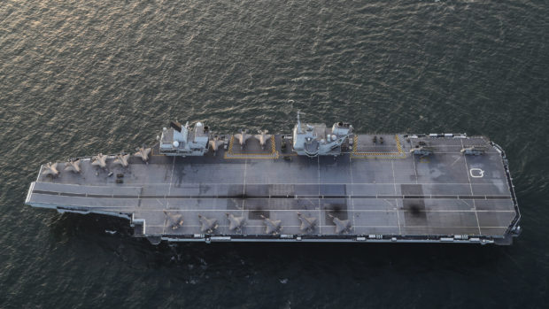 Royal Navy carrier HMS Queen Elizabeth as she sails for exercises with allies off the north east coast of Scotland as part of Joint Warrior, NATO's largest annual exercise