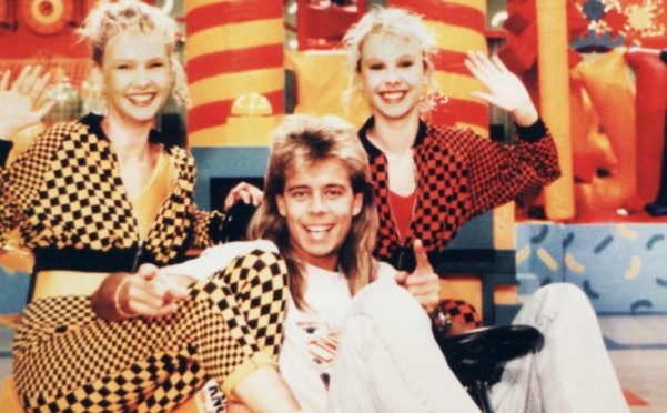 Pat Sharp on the Funhouse set with Melanie and Martina