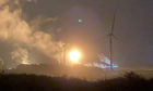Flaring at the Mossmorran ExxonMobil chemical plant in Fife