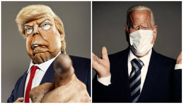 Spitting teeth: Trump and Biden puppets
