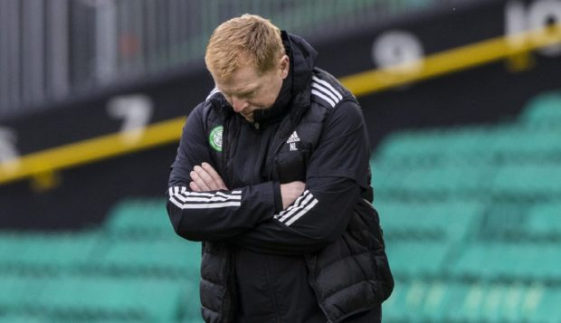 Celtic manager Neil Lennon looks frustrated during the clash with Rangers