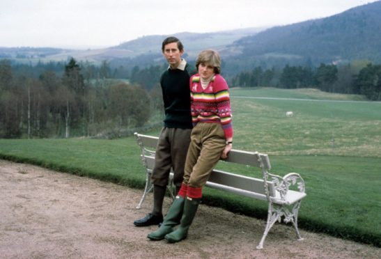 Prince Charles and Lady Diana Spencer on holiday at Balmoral Castle in Scotland, shortly before their marriage.