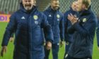 Scotland manager Steve Clarke celebrates beating Serbia on penalties
