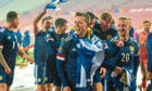 The Scotland football team after winning against Serbia on Thursday evening.