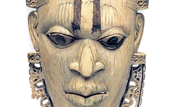 A pre-colonial Benin ivory mask from modern-day Nigeria on display in the British Museum