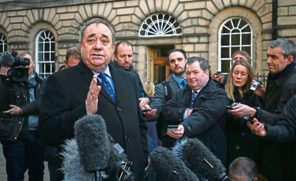Alex Salmond outside the Court of Session in 2019
