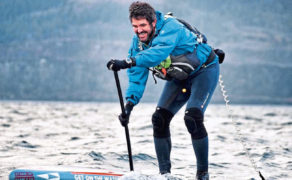 Paddle-hardened adventurer battles brutal weather for round-Britain record