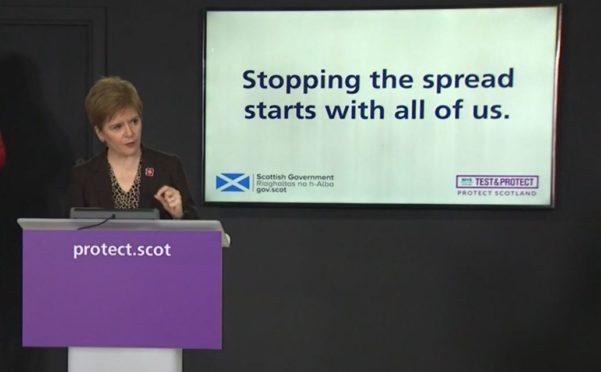Nicola Sturgeon addresses her daily briefing.